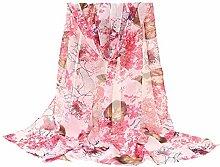 ZSZJ Silk scarf Women Scarves Flower Printing Long