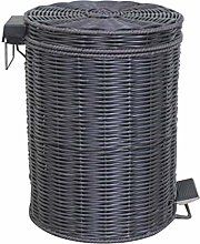 ZTMN Wicker Round Trash Can Wastebasket With