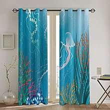 ZUL Blackout Curtains,Composition With Leaves And