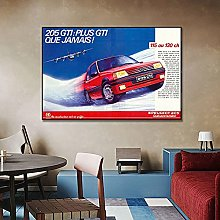 zuomo 205 GTI Red Racing Car Poster Painting