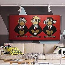zuomo Abstract Animal Monkey Wall Art Canvas Print