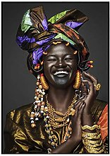 zuomo African Laughing Black Women Figure Canvas