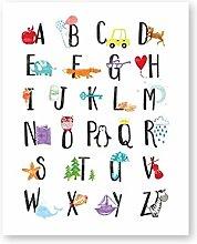 zuomo Alphabet Canvas Poster Nursery Wall Art