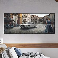 zuomo Car Drive In City Poster Painting Canvas