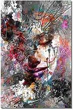 zuomo Graffiti Art Tearful Girl On Canvas Print
