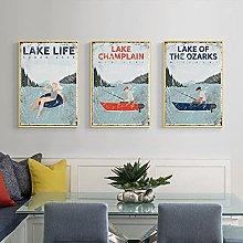 zuomo Lake Champlain Vintage Travel Fishing Poster