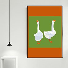 zuomo Two White Geese Canvas Print Wall Art