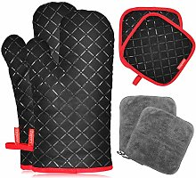 Zupora 6 Pcs Oven Mitts and Pot Holders, Heat