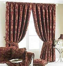 Zurich Pencil Pleat Curtains (Pair) - Burgundy Red