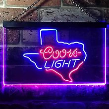 zusme Coors Light Texas Novelty LED Neon Sign Blue