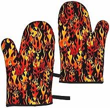 ZVEZVI Flames Orange Black 2pcs Oven Gloves