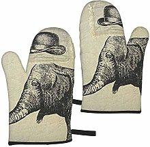 ZVEZVI Hat And Elephant Linen 2pcs Oven Gloves