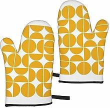 ZVEZVI Mid Century Modern Yellow 2pcs Oven Gloves