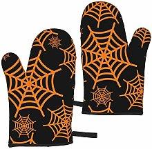 ZVEZVI Orange Halloween Spider Web Kitchen Oven