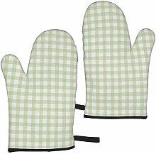 ZVEZVI Oven Gloves Sage Green Linen Plaid Extreme