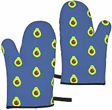 ZVEZVI Oven Mitts Avocado Vegetable On Blue Heat