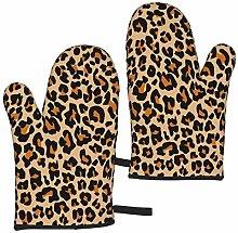 ZVEZVI Oven Mitts Leopard Repeating Orange Cheetah