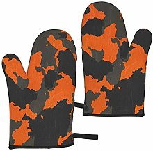 ZVEZVI Oven Mitts Orange Camouflage Heat Resistant