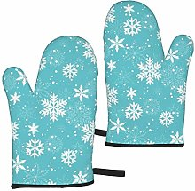 ZVEZVI Oven Mitts White Snowflakes 1 Heat