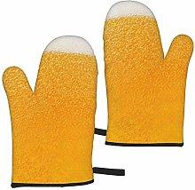 ZVEZVI Oven Mitts,Yellow Beer Bubble Home Extreme