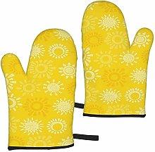 ZVEZVI Oven Mitts Yellow Sun Hand Nature Heat