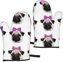 ZVEZVI Pretty Pug Girls Bracket 2pcs Oven Gloves