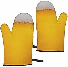 ZVEZVI Yellow Beer Bubble 2pcs Oven Gloves