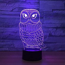 ZWANDP 3D Lamp Cute Owl 7 Colors for Kids Touch