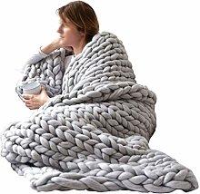 ZWDM Chunky Knit Blanket Throw HandWoven Bulky