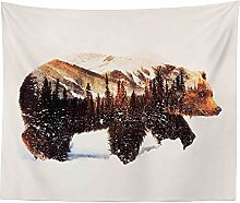 ZWJ Brown bear tapestry polyester material bedroom