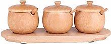 ZWJ-JJ 3 Piece Set,Round Wooden Spice Jar