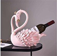 ZWJWJ Sculpture Wine bottle rack pink crown swan