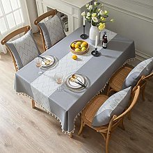 ZXCN Rectangle Stain Resistant Table Cloth Cotton
