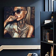 zxianc Abstract Cool Sexy Girl Tattoo Canvas