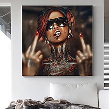 zxianc Hip Hop Cool Tattoos Girl Art Prints Canvas