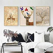 zxianc Poster Nordic Abstract Gold Deer Elk Canvas