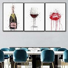 zxianc Print On Canvas Wine bottle and Red wine