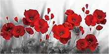 zxianc Red Poppies Flower Black And White Canvas