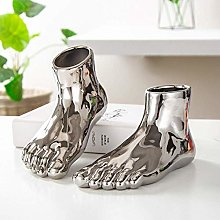 ZXL Foot Shape Flower Pot Gold And Silver Ceramic