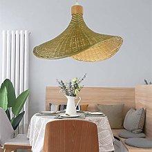 ZXM Vintage Bamboo Pendant Lamp E27 Rattan Straw
