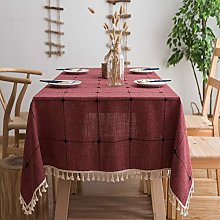 ZXQY Checkered Tassel Tablecloth, Heavy Duty