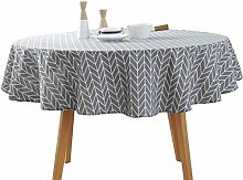 ZXWDIAN Round Tablecloth, Dust-Proof Cotton Linen