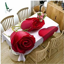 ZXWDIAN Tablecloth 3D Rose Pattern Washable