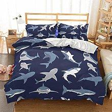 ZXXFR Bed Duvet Cover Set,Bedding Dark Blue Shark