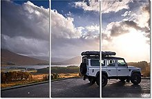 ZXYJJBCL A White Car Triptych Canvas Print Wall