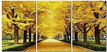 ZXYJJBCL Autumn Trees Triptych Canvas Print Wall