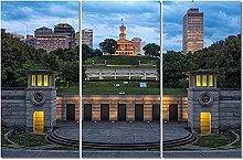 ZXYJJBCL Beautiful Building Triptych Canvas Print