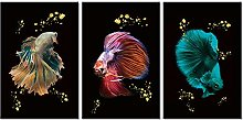 ZXYJJBCL Beautiful Colorful Fish Triptych Canvas