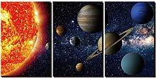 ZXYJJBCL Beautiful Planet Triptych Canvas Print