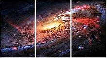 ZXYJJBCL Beautiful Starry Sky Triptych Canvas